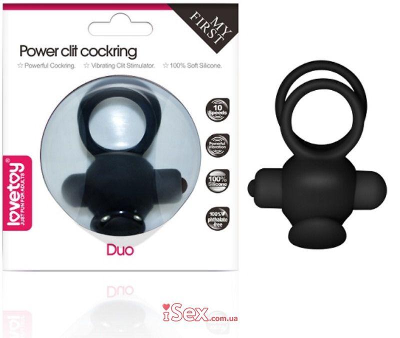 Эрекционное кольцо с вибрацией Power Clit Cockring Duo (LV1427-Pink)