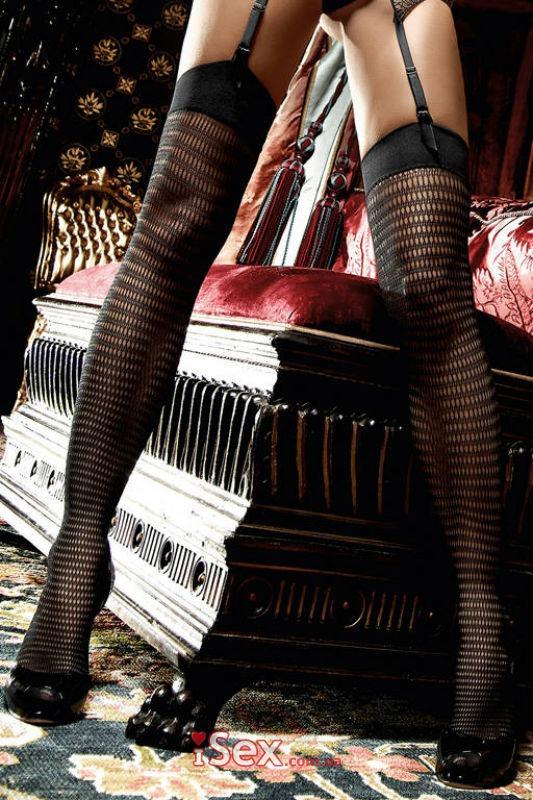 Чулки Black Net Stockings With Delicate Design (B1183-BLACK-OS)